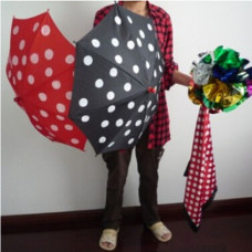 Color changing silks, color changing umbrellas, red
